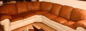 3 piece sectional real leather sofa. (Burnt Orange and Cream). Very comfy. for Sale in McLean, VA