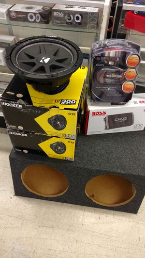 Complete car audio system for cars Kicker Kenwood Pioneer or Planet Audio for Sale in Houston, TX