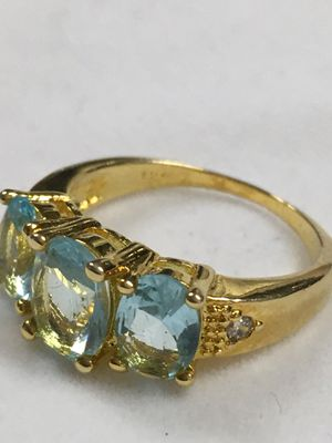 Size 6 Princess Cut Aquamarine Sapphire 10K Gold Filled Women's Wedding Ring for Sale in Nashville, TN