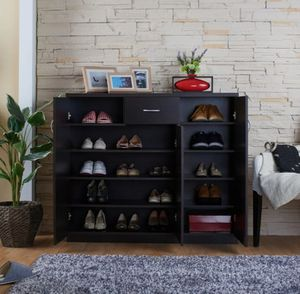 Contemporary Espresso 10-shelf Shoe Cabinet for Sale in Ontario, CA