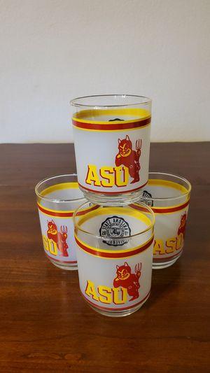 Vintage ASU Sun Devil Sparky Mascot Libbey Glasses - Set of 4 for Sale in Scottsdale, AZ