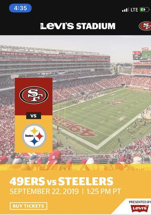 49er the Steelers game for Sale in Newark, CA