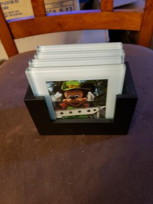 Vintage walt Disney glass coasters with wooden holder for Sale in Stow, OH