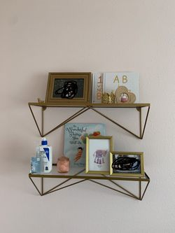 Two gold shelves with glass for Sale in Lemoore,  CA