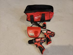 MILWAUKEE IMPACT DRIVER M12 AND DRILL/ DRIVER.. WITH BATTERY 2.0 AND CHARGER for Sale in Riverside, CA