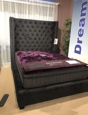 New Black Velvet Bed Frame with Extra Tall Headboard : Queen / King / California King : Mattress Set Sold Separately - Box Spring Required for Sale in Walnut Creek, CA