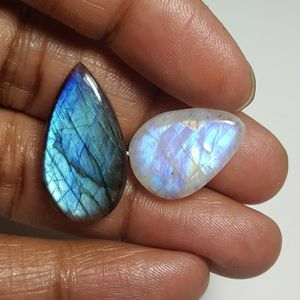 Labradorite & Rainbow Moonstone Cabochon: LRL-01-8/STK-116 for Sale in Queens, NY