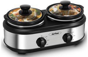 Brand new Slow Cooker, Dual Pot Slow Cooker Buffet Server 2 Pot Small Mini Crock Pot Food Warmer, 2-Section 1.25-Quart Oval Slow Cooker Buffet Food W for Sale in Renton, WA