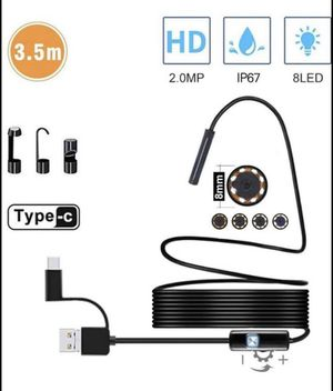 USB Inspection Camera Endoscope Type C Borescope, 2.0 MP HD Camera with 8 LEDs for Android Smartphone and Windows Devices (11.5FT) for Sale in Chicago, IL