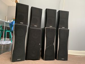 Onkyo surround speakers, infinity center speaker, Sony tower speakers and 2 onkyo receivers. for Sale in Mount Prospect, IL