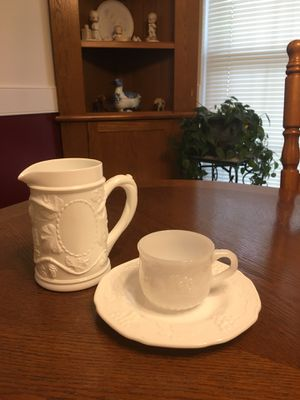 Antique Milk Glass Pitcher, Cup and Plate for Sale in Boiling Springs, SC