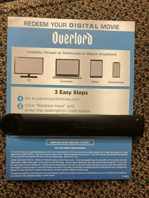 Overlord HD digital movie code for Sale in Lynwood, CA