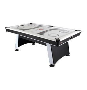 Atomic Blazer 7' Air Hockey Table with Heavy-Duty Blower, Electronic Scoring, Leg Levelers, and Overhang Rail for Sale in Austin, TX