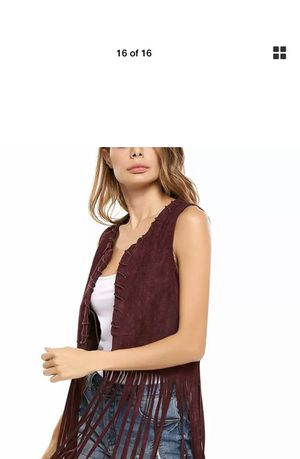 Hotouch Women Fringe Vest Open-Front Faux Suede Sleeveless Tassels Vest Cardigan. Condition is New with tags. Size small new with tag for Sale in Brandon, FL