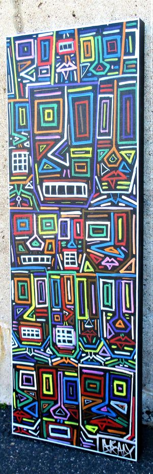 36x12 ORIGINAL SIGNED PRIMITIVE EXPRESSIONIST ARTWORK. ACRYLIC AND OIL STICK. STRETCHED CANVAS AND READY TO HANG for Sale in Cincinnati, OH