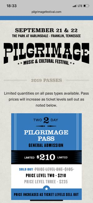 Pilgrimage Music Festival for Sale in Chattanooga, TN