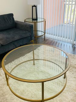 Otha Gold, Glam Glass Top Coffee Table in Great Condition for Sale in Placentia,  CA