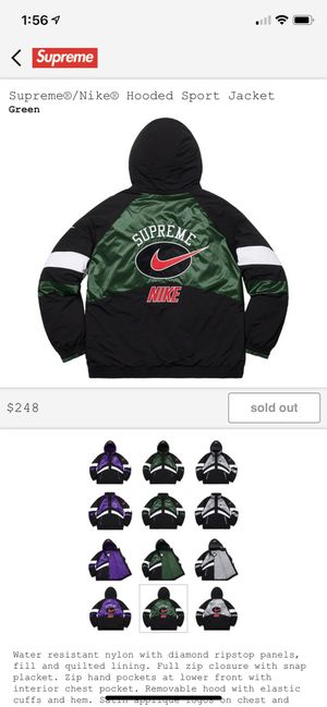Supreme Nike Hooded Sport Jacket Green for Sale in DW GDNS, TX