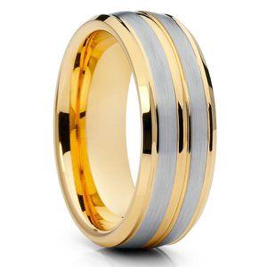 18k Yellow gold plated tungsten carbide ring wedding band Anillo bañado en oro amarillo argolla de matrimonio Size 9,9.5 If you need a different si for Sale in Apple Valley, CA