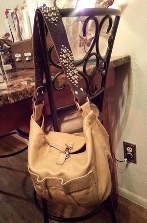 Tylie Malibu tan brown genuine leather with rhinestone embellished strap slouchy utility bag hobo shoulder bag for Sale in Phoenix, AZ