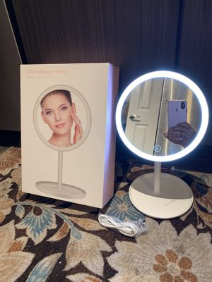 1pc Rechargeable Lighted Makeup Mirror - 8 inch Cordless Light Up Vanity Mirror with 70 LEDs and Built-in Battery for Sale in Carrollton, TX