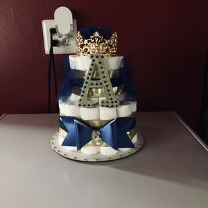 Royal Blue and Gold Prince Theme Diaper Cake for Sale in Richmond, VA