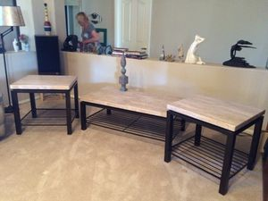 Metal & Polished Stone Coffee & End Tables (3 pc) for Sale in Las Vegas, NV