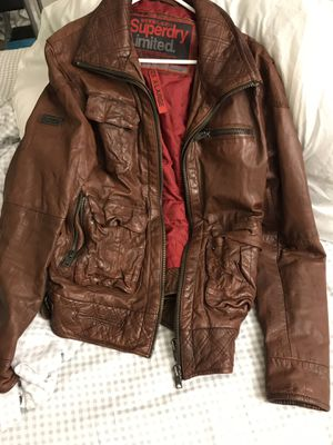 Superdry genuine leather motorbike jacket xl/med for Sale in Chantilly, VA