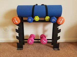 Yoga Mat and set of Dumbbells- 5lb, 10lb, 15lb and 18lb with a stand for Sale in Pittsburgh, PA