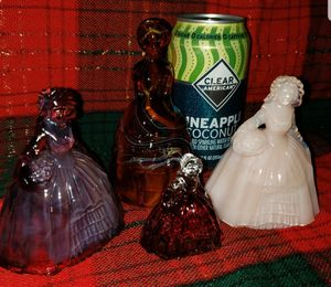 Four Vintage Slag Glass, Victorian Lady Figurines. for Sale in Denton, TX