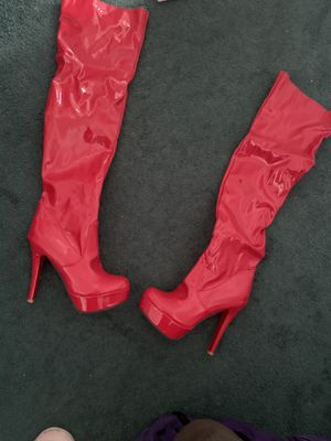 8.5 Fire Engine Red Knee High Boots for Sale in Camp Springs, MD