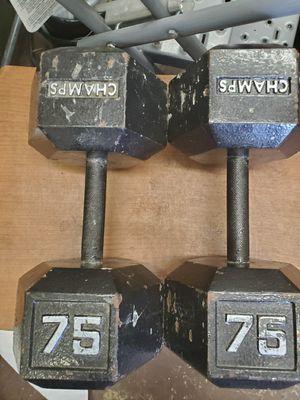(2) 75LB Metal Hex Dumbbells for Sale in Rockledge, FL