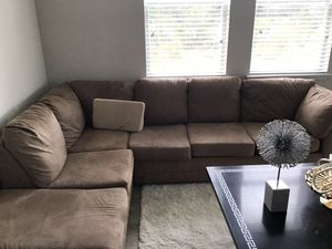 Brown suede sectional couch for Sale in Davenport, FL
