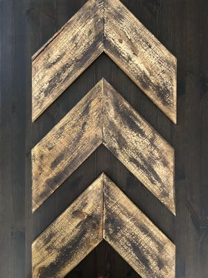 Large Wood Chevron Arrow Wall Art Decor (Set of 3) for Sale in Nashville, TN