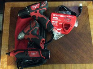 MILWAUKEE SET!! INCLUDES 2 BATTERIES AND A CHARGER!!! M-12 IMPACT- DRILL- and ROTARY TOOL (Similar to Dremel with WAY more power and capability) for Sale in Mesa, AZ