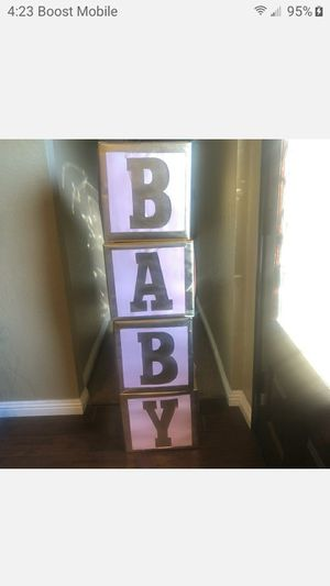 LARGE BABY SHOWER BLOCKS FOR DECORATION ,PHOTO FIRM $25 for Sale in Fontana, CA