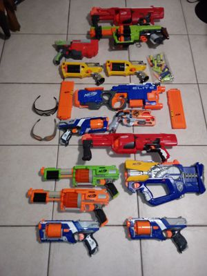 Lot of 14 nerf guns and accessories for Sale in Opa-locka, FL