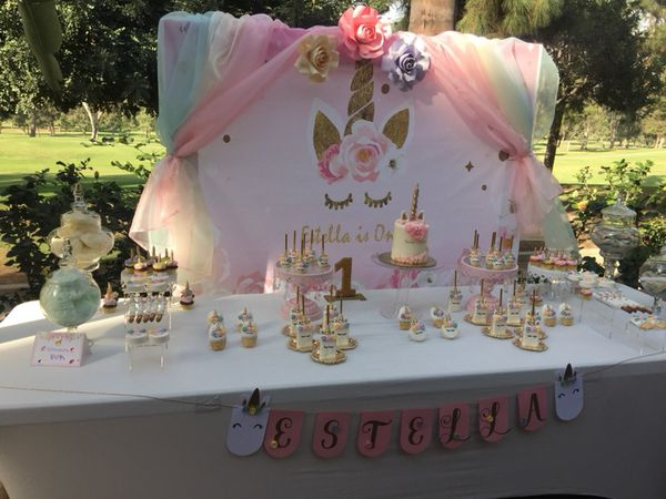 Unicorn Dessert Table Backdrop Rental Customized With Name For Sale