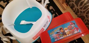 Tub seat & child step. Booster seat by Prince Lion & stool Paw Patrol $10 total. Gently used for Sale in Las Vegas, NV