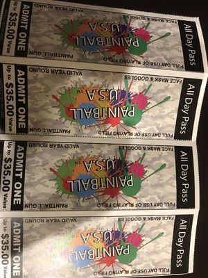 4 paintball tickets all for $5 for Sale in Gilbert, AZ