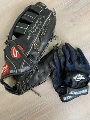 BEGINNER BASEBALL/SOFTBALL SET: EASTON BATTING GLOVES & RAWLINGS GLOVE for Sale in New Port Richey, FL