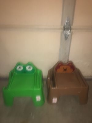 Brand New Kids Plastic Animal Step stool Chairs Frog Bear Childrens Play Side Storage $3 each. Located in Plainfield off Route 59 and Caton Farm Road. for Sale in Plainfield, IL