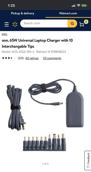 onn. 65W Universal Laptop Charger with 10 Interchangable Tips for Sale in Alexandria, VA