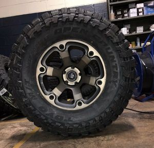 "5 17"" Fuel Beast D564 Black Wheels 35"" Toyo MT Tires Package Jeep Wrangler JK JL for Sale in Tampa, FL"