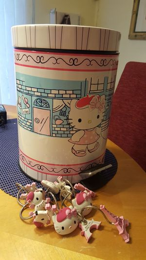 Hello Kitty trash can &shower hooks for Sale in Edgewood, MD