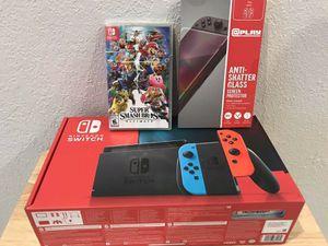 Nintendo switch grey joy con super smash bundle for Sale in Malden, MA