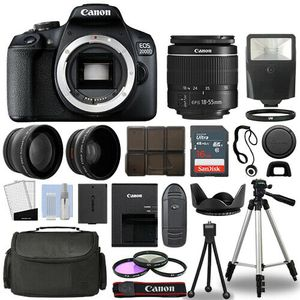 Canon EOS 2000D + 3 Lens Kit 18-55mm +16gb+ Flash & more for Sale in Los Angeles, CA