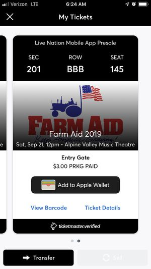 Farm Aid tickets for this Saturday. From Live Nation. Sold out show. for Sale in Wilmington, IL