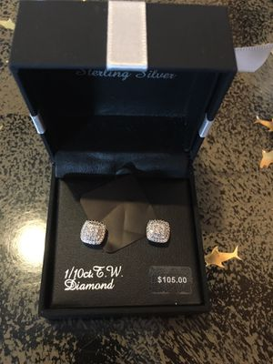 Sterling silver 1/10 diamond stud earrings new with tags Last one for this style 55$ very firm real diamonds for Sale in Elk Grove, CA