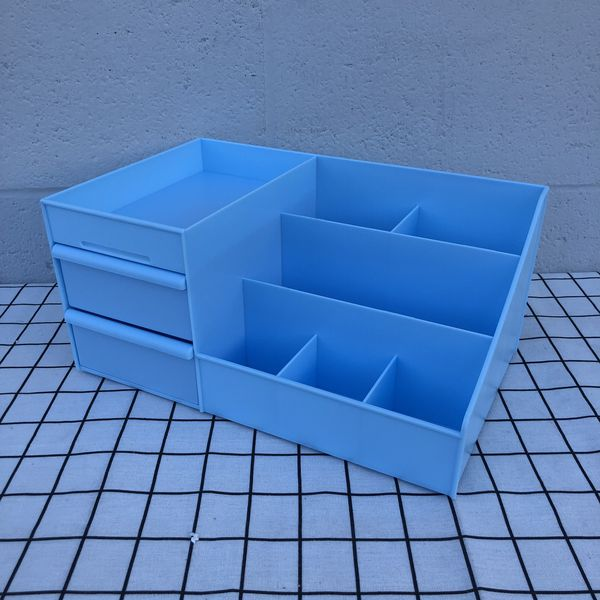 New Baby Blue Room Desktop Organizer Plastic Storage Box Container With Drawers For Household Makeup Toy Beauty